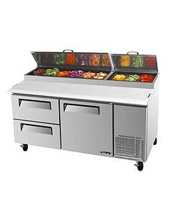 Turbo Air TPR-67SD-D2 Super Deluxe Pizza Prep Table, Two Door
