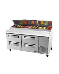Turbo Air TPR-67SD-D4 Super Deluxe Pizza Prep Table, Four Door