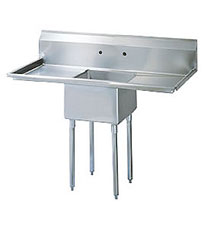 """Turbo Air Stainless Steel One Compartment Sink, 18"""" x 18"""" Bowl with Left And Right Drainboards"""