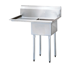 """Turbo Air Stainless Steel One Compartment Sink, 18"""" x 18"""" Bowl wit"""