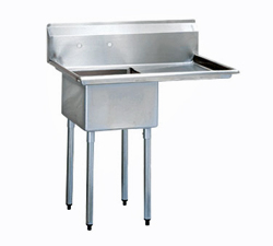 "Turbo Air Stainless Steel One Compartment Sink, 18"" x 18"" Bowl with Right Drainboard"