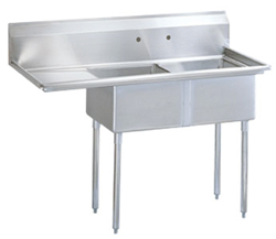 "Turbo Air Stainless Steel Two Compartment Sink, 18"" x 18"" Bowls with Left Drainbo"