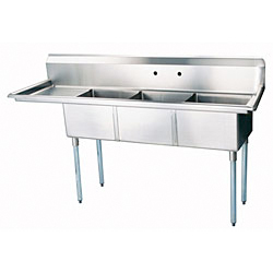 "Turbo Air Stainless Steel Three Compartment Sink, 18"" x 18"" Bowls with Left Drainboard"