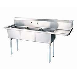 "Turbo Air Stainless Steel Three Compartment Sink, 18"" x 18"" Bowls with Right Drainboard"