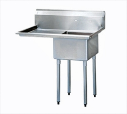 "Turbo Air Stainless Steel One Compartment Sink, 24"" x 24"" Bowl with Left Drainboard"