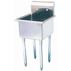 "Turbo Air Stainless Steel One Compartment Sink, 24"" x 24"" Bowl, No Drainboard"