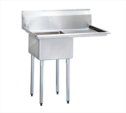 """Turbo Air Stainless Steel One Compartment Sink, 24"""" x 24"""" Bowl with Right Drainboard"""