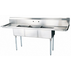 "Turbo Air Stainless Steel Three Compartment Sink, 24"" x 24"" Bowl with Left And Right Drainboard"