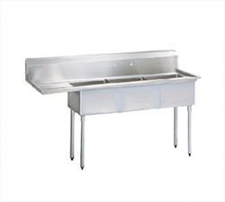 "Turbo Air Stainless Steel Three Compartment Sink, 24"" x 24"" Bowl with Left Drainboard"