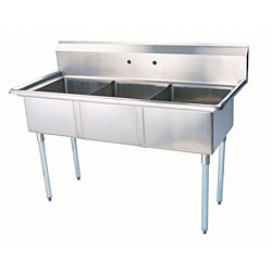 "Turbo Air Stainless Steel Three Compartment Sink, 24"" x 24"" Bowl, No Drainboard"