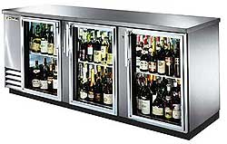 TRUE Back Bar Cooler, 3-Section, Glass Doors, 152 Six-Pack Capacity