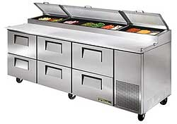 True Drawered Pizza Prep Table TPP-93D-6 - 6 Drawers
