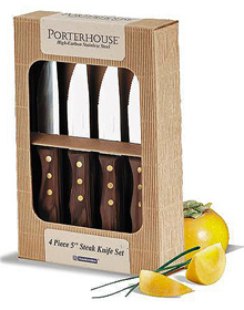 Porterhouse Steak Knives with Hardwood Handles