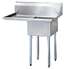"Turbo Air One Compartment Stainless Steel Sink, 14"" Deep Bowl with Drainboard"