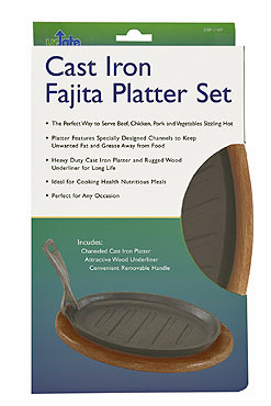 Cast Iron Channeled Fajita Skillet/Sizzle Platter Set With Removable Handle