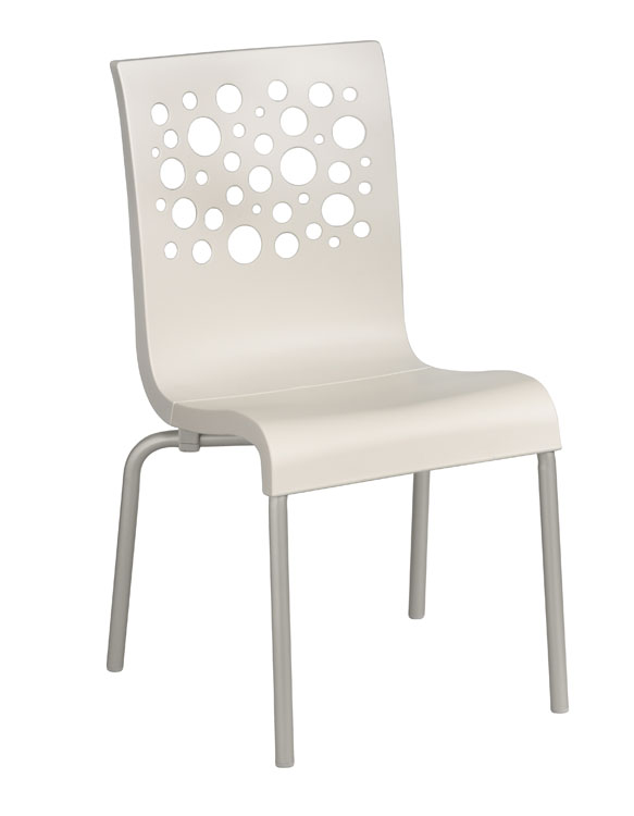Grosfillex Tempo Stacking Side Chairs - Pack of 4 - White - US021004
