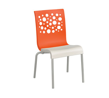 Grosfillex Tempo Stacking Side Chairs - Pack of 4 - Orange - US835019