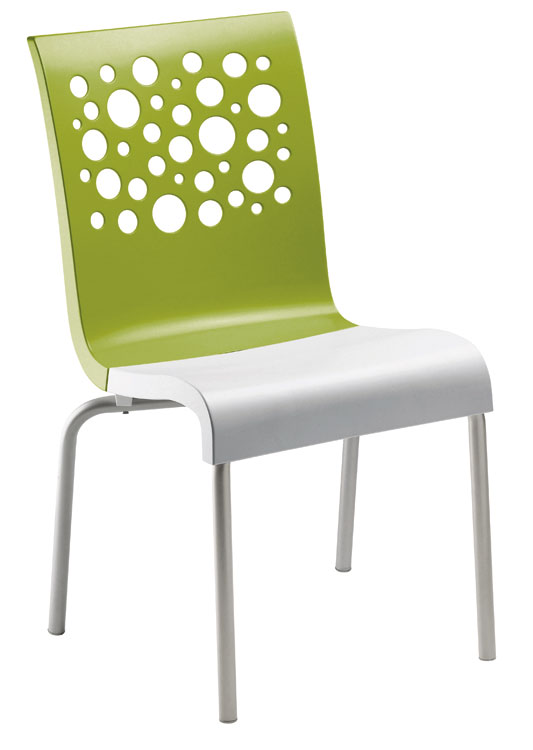 Grosfillex Tempo Stacking Side Chairs - Pack of 4 - Fern Green - US835152