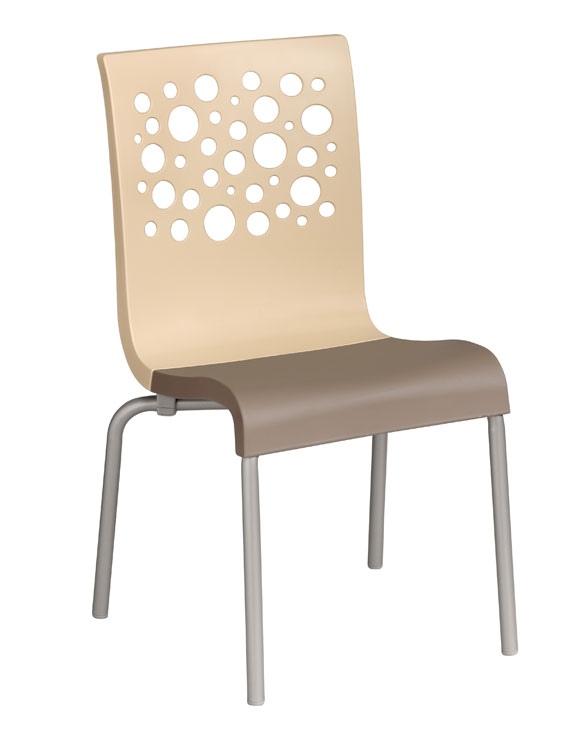 Grosfillex Tempo Stacking Side Chairs - Pack of 4 - Beige - US021413
