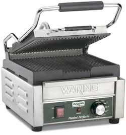 Waring Panini Perfetto Compact Ribbed Surface Italian-Style Panini Grill