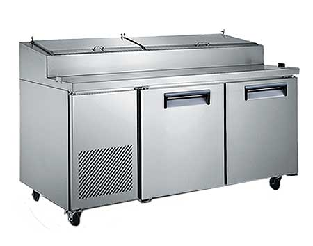 "Adcraft U-STAR Refrigerated Pizza Prep Table 71"" wide two-section - USPZ-2D"