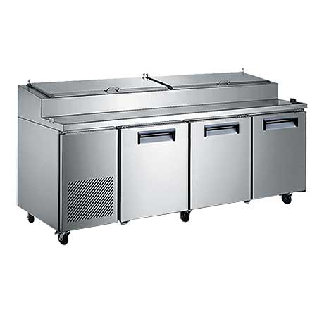"Adcraft U-STAR Refrigerated Pizza Prep Table 92"" wide three-section - USPZ-3D"