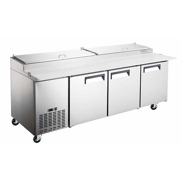 Adcraft Grista Refrigerated Pizza Prep Table three-section - GRPZ-3D