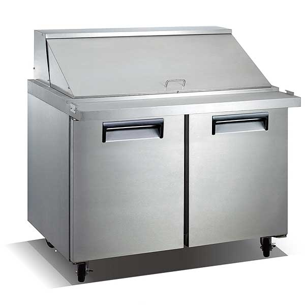 """Adcraft U-STAR Mega Top Salad/Sandwich Refrigerated Prep Table 47"""" wide two-section - USSLM-2D"""