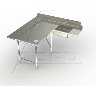 Aerospec 2SDL Soiled Corner Dishtables with Sink / Landing Shelf