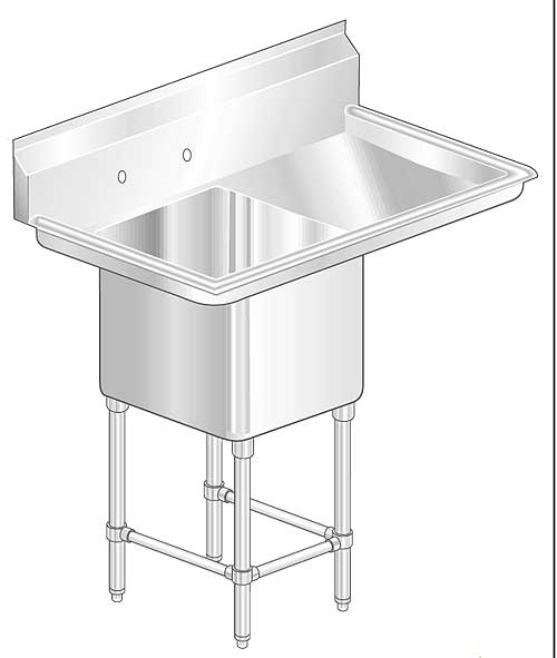 Aerospec 2F1R Sinks with Single Bowl and Right Drainboards