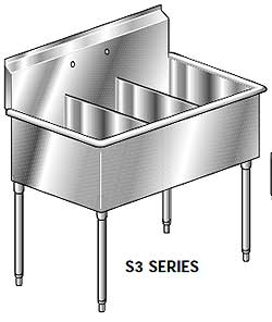 Aero Economy Stainless Steel Three Compartment Sink, 18 x 12 Bowls, Non-NSF