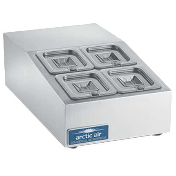 """Arctic Air Compact Refrigerated Counter-Top Prep Unit 15""""W Includes (4) 1/6 Lexan Pans & Covers - ACP4SQ"""