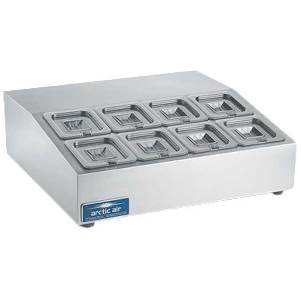 """Arctic Air Compact Refrigerated Counter-Top Prep Unit 27-1/2""""W Includes (8) 1/6 Lexan Pans & Covers - ACP8SQ"""