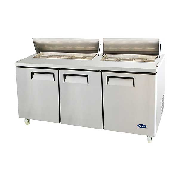 "Atosa Sandwich/Salad Top Refrigerator Three-section 72-11/16""W X 30""D X 44-1/4""H - MSF8304GR"