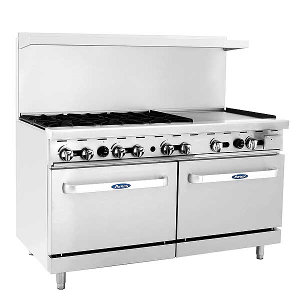 """Atosa CookRite Gas Range 60""""W X 32.6""""D X 56.4""""H (6) 25,000 BTU Open Burners & 24""""W Griddle On The Right - ATO-6B24G"""