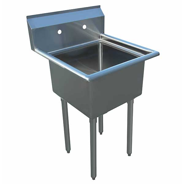 """BevLes Heavy Duty Work Sink One Compartment 21-1/2""""W X 21""""D X 43-3/4""""H Overall Size - BWS184121"""