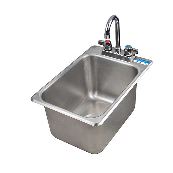 "BK Resources Drop-In Sink One Compartment 12-1/8""W X 18-1/2""D X 9""H - BK-DIS-1014-10-P-G"