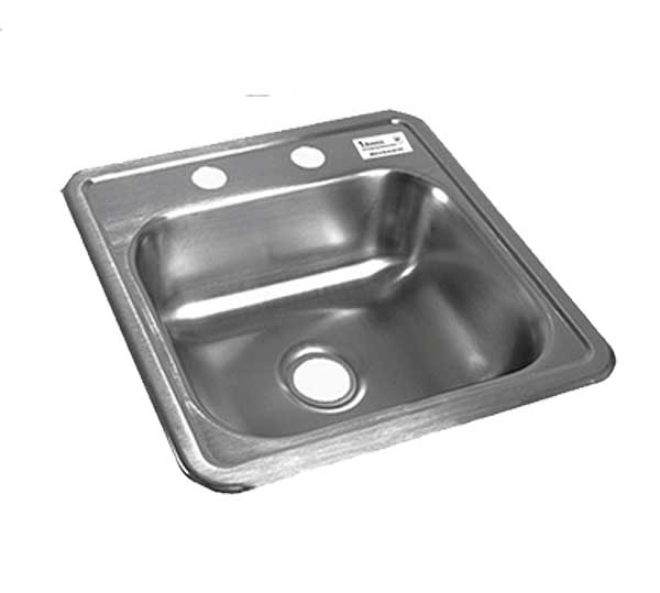 "BK Resources Drop-In Sink One Compartment 15""W X 15""D X 5-3/4""H - BK-DIS-1515"