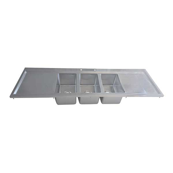 "BK Resources Drop-In Sink Three Compartment 58-1/8""W X 20""D X 10-5/8""H - BK-DIS-1014-3-12T"