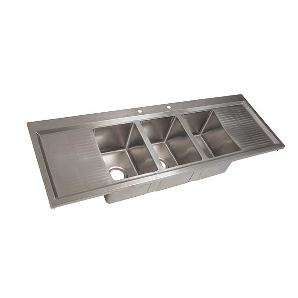 "BK Resources Drop-In Sink Three Compartment 58-1/8""W X 20""D X 10-5/8""H - BK-DIS-1014-3-12T-PG"
