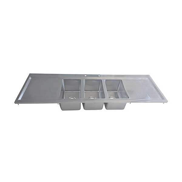 "BK Resources Drop-In Sink Three Compartment 70-1/8""W X 20""D X 10-5/8""H - BK-DIS-1014-3-18T-PG"