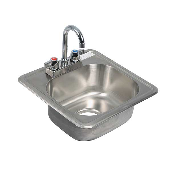"BK Resources Drop-In Sink One Compartment 15""W X 15""D X 5-3/4""H - BK-DIS-1515-P-G"