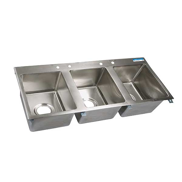"BK Resources Drop-In Sink Three Compartment 56""W X 25""D X 12""H - BK-DIS-1620-3-P-G"
