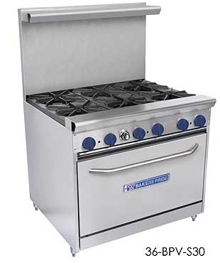 "Bakers Pride Range, 36"", 6 open burners 36-BPV-6B-S30"
