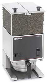Bunn Low Profile Portion Control Coffee Grinder with 2 Hoppers