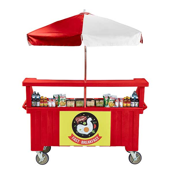 Cambro Camcruiser Vending Cart 74-1/2-inches X 31-3/4-inches X 94-inches H (4) Full Size Counter Top Wells - CVC724158