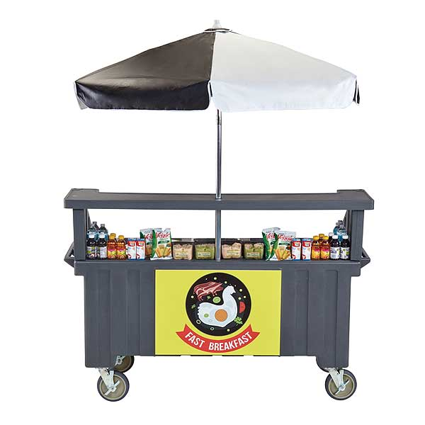 Cambro Camcruiser Vending Cart 74-1/2-inches X 31-3/4-inches X 94-inches H (4) Full Size Counter Top Wells - CVC724191