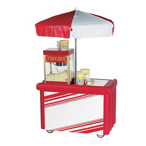 Cambro Camcruiser Vending Cart 55-3/16-inches X 31-1/4-inches X 93-1/2-inches H (1) Full Size Counter Top Well With White Polyethylene Cutting Board - CVC55158