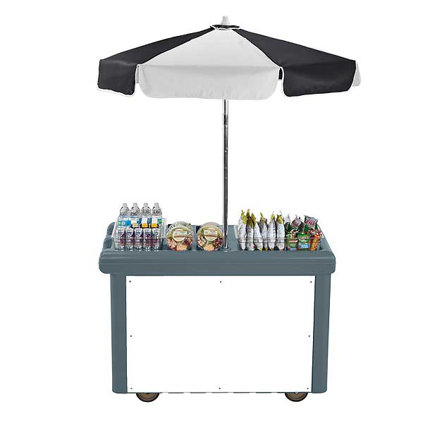 Cambro Camcruiser Vending Cart 55-3/16-inches X 31-1/4-inches X 93-1/2-inches H (1) Full Size Counter Top Well With White Polyethylene Cutting Board - CVC55191