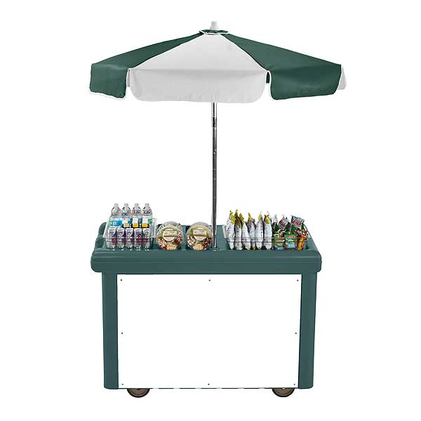 Cambro Camcruiser Vending Cart 55-3/16-inches X 31-1/4-inches X 93-1/2-inches H (1) Full Size Counter Top Well With White Polyethylene Cutting Board - CVC55192